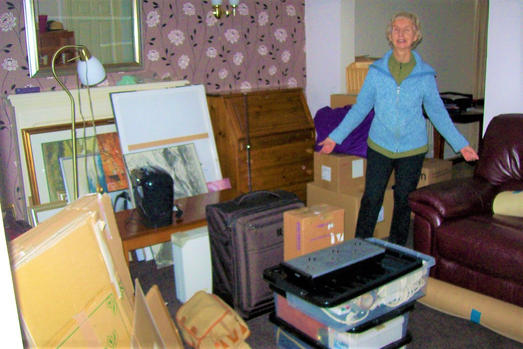 lady with a lot of stuff